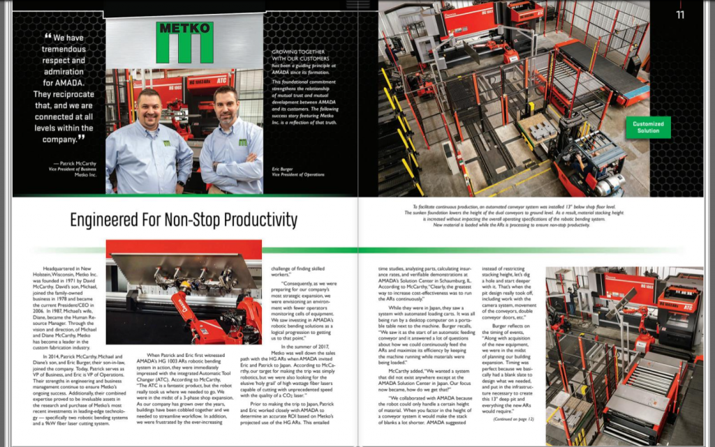 Metko article in AMADA's total solutions magazine