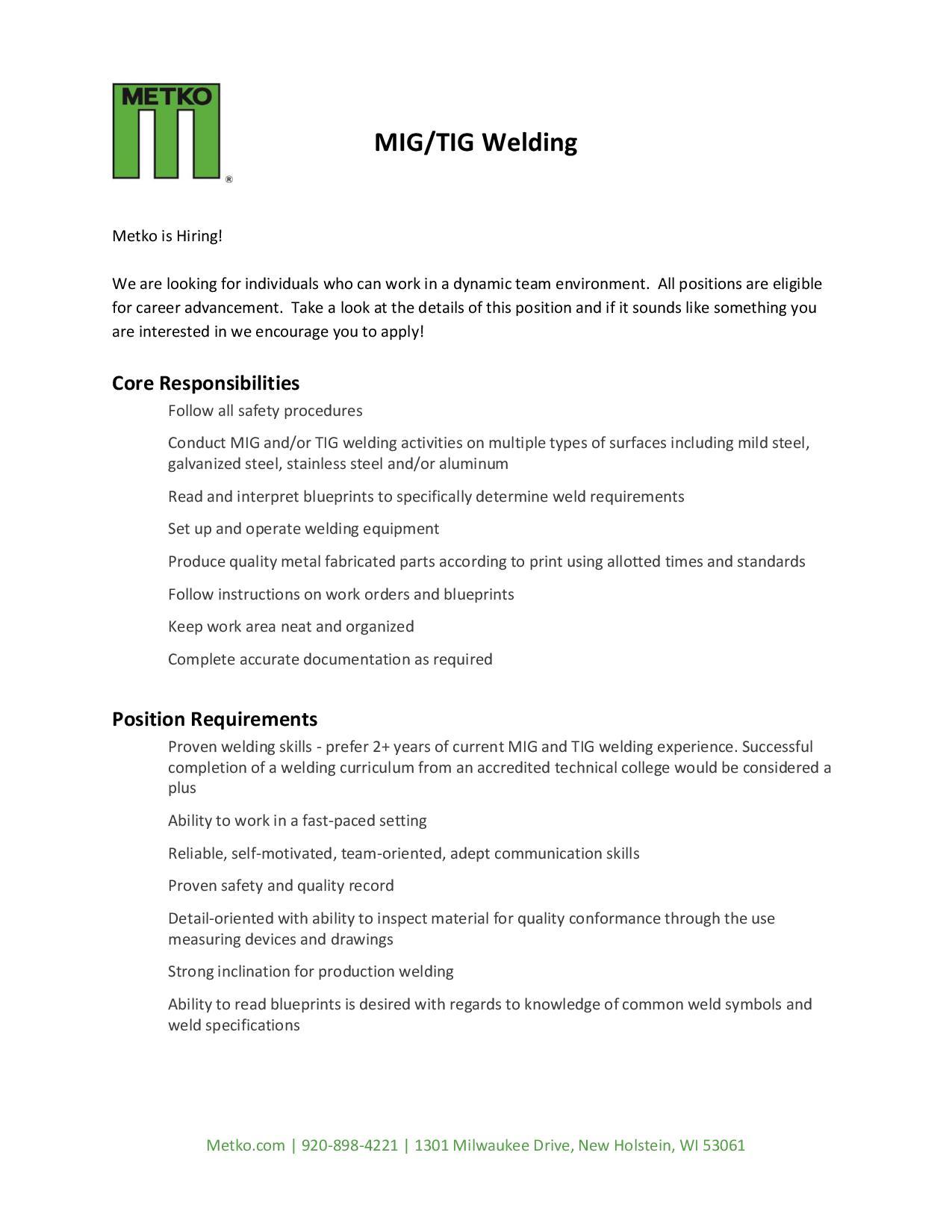 Hiring Welders job description